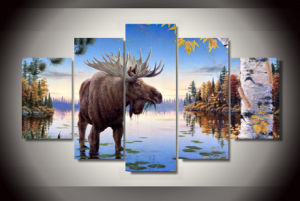 HD Printed Animal Elk Painting Canvas Print Room Decor Print Poster Picture Canvas Mc-132 pictures & photos
