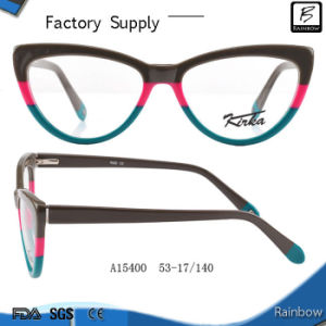 Cat Eye Stripe Color Hand Made Frames Optical Eyeglasses (A15400)