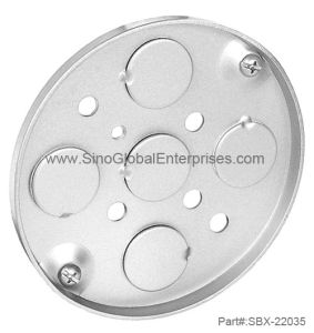 """4"""" Round 1/4"""" Deep, Shallow Pan Junction Box with Conduit Knockouts (SBX-22035)"""