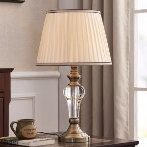 Traditional Design E27 Table Lamp with PE Shade for Bedside Decorative/ Crystal Table Lamp