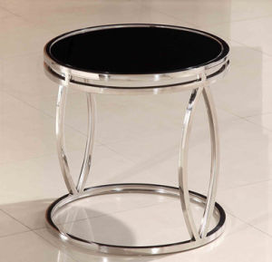 High Quality Factory Price Hotel Home Furniture Tempered Glass Coffee Bar Table with Stainless Steel Legs