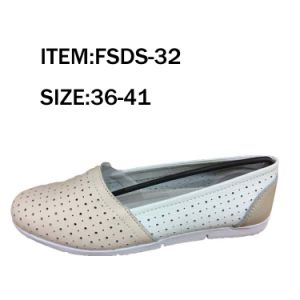 Double Color Flat Lady Fashion Single Leather Shoes pictures & photos