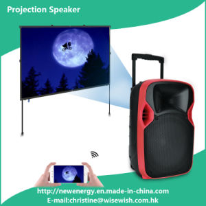 Professional 12 Inches Powered LED Projection Speaker Box with Wheels pictures & photos