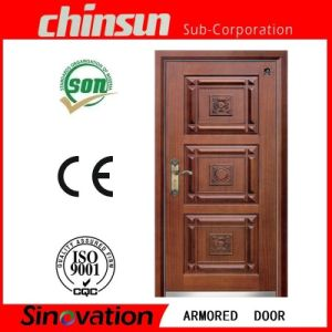 Steel Armored Wooden Door Steel Wood Security Door with Ce Certificate (A001) pictures & photos