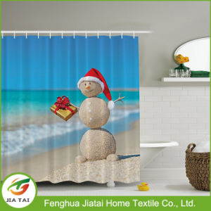 Custom Western Polyester Decorative Beautiful Snowman Shower Curtain for Kids pictures & photos