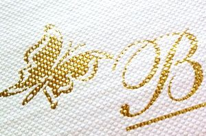 Gold and Shining Hot Stamping Foil Print as Vivid Butterfly Design on PU Leather pictures & photos