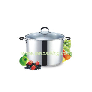 Stainless Steel Stock Pot Straight Shape Step and Rolled Edge pictures & photos