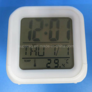 Cube Plastic LCD Promotion Alarm Clock with Radio Function pictures & photos