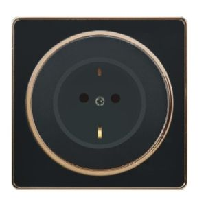British Standard16A Black Golden-Framed German-Style Wall Socket Outlet pictures & photos