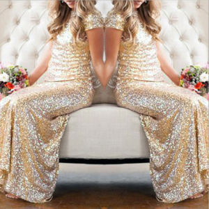 Stunning Gold Sequins Short Sleeves Party Bridesmaid Dress (Dream-100047) pictures & photos