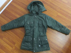 Ladies Padded Winter Waterproof Polyester Parka Jacket Apparel (IC30) pictures & photos
