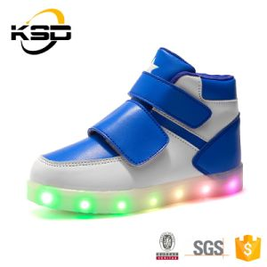 Buckle Strap Waterproof Kids Sport Shoe Reachargeable Customized LED Light Shoes pictures & photos