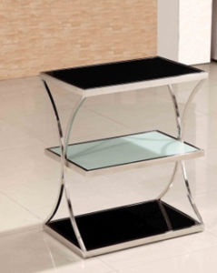 Simple Design Home Living Room Display Showing Shelf Tempered Glass Table with Quality Stainless Steel