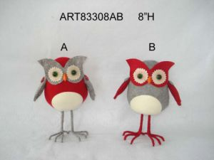 Standing Christmas Decoration Owl Toy with Wire Paws-2asst. pictures & photos