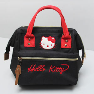 Black Canvas Red Handle Ladies Bag (A0114-4) pictures & photos