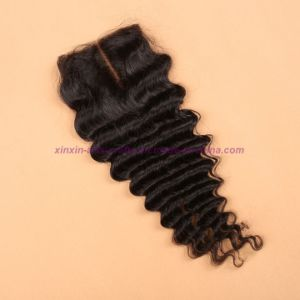 Mongolian Deep Wave Closure 4*4 Silk Base Closure 8A Unprocessed Hair Silk Base Closure pictures & photos