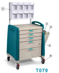 Good Price! Hospital Treatment Crash Cart, Nursing Medicine Trolley with Dividers pictures & photos