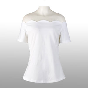 Woman Blouses and Tops Rockabilly Vintage Plain White Sexy Shirt pictures & photos