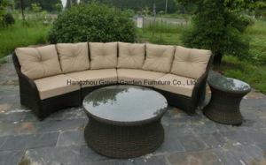 Half Moon Curve Flat Wicker Modular Sofa Set Outdoor Furniture pictures & photos