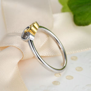 925 Sterling Silver Heart to Heart Ring with 14k Gold Plated pictures & photos