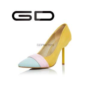 Three 3 Color Upper Suede Strange Heel Pumps Shoes pictures & photos