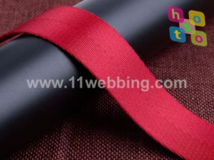 Red Color Herringbone Polyester Webbing for Bag Accessories pictures & photos