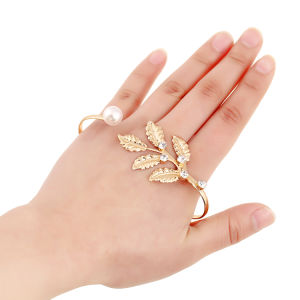 Fashion Leaf Hand Palm Bracelet Bangle Cuff Ring Imitation Pearl Jewelry pictures & photos