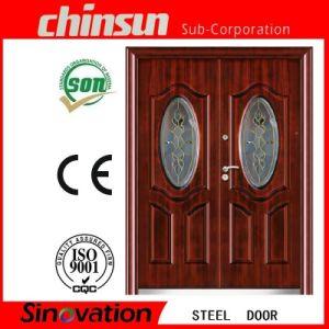 Double Steel Door with Glass pictures & photos