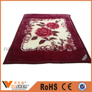 Warm Soft Flower Printing Double Layer Thick Polyester Raschel Blanket pictures & photos