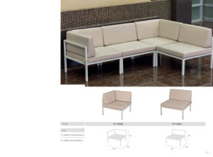 Garden Powder-Coated Aluminum Sofa with Cushion pictures & photos