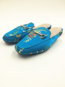 Royal Blue Satin Upper Real Leather Sock Women Slipper pictures & photos