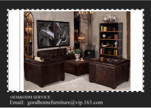 Brown Color Restaurant Hotel Furniture Leather Sofa Sets pictures & photos