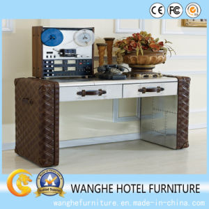 Hotel Office Furniture Rectangular Worktop Executive Table with Leather pictures & photos