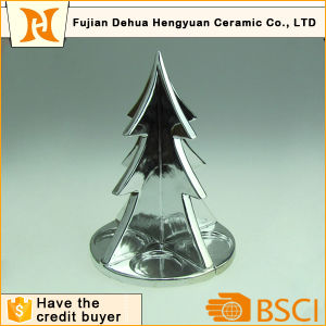 Plating Ceramic Christmas Tree for Four Candle Holders pictures & photos