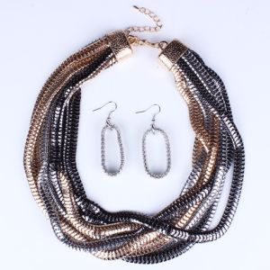 Fashion Twisted Metal Alloy Collar Choker Necklace Jewelry Set pictures & photos