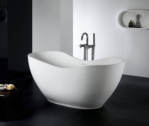 Caststone Freestanding Hand Control Bath Tub with Center Drain pictures & photos