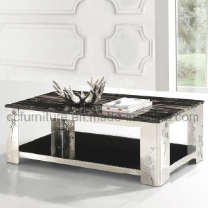 Marble Top Stainless Steel Frame Coffee Table with Flower Printing pictures & photos