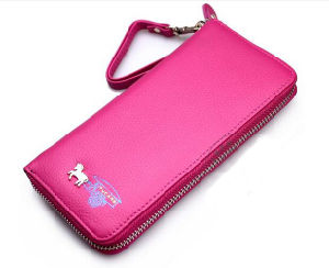 Lady Genuine Leather Wallet with Wristlet pictures & photos