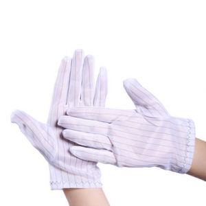 Cleanroom Antistatic ESD Nylon Stripped Working Gloves pictures & photos