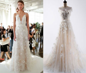 3D Flower Boat Neckline Fashion Wedding Gown pictures & photos