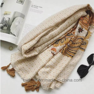 Spring & Summer Printed Polyeser Women′s Long Scarf (HWBPS37) pictures & photos