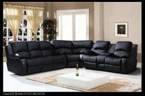 Top Selling Black Leather Home Furniture Corner Recliner Sofa with Storage Consoles pictures & photos