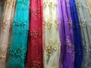 Hand Beaded French Tulle Lace Fabric for Party Dress pictures & photos