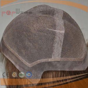 Brown Human Hair PU Enclosed Border Edge Full Hand Tied Lace Wig pictures & photos