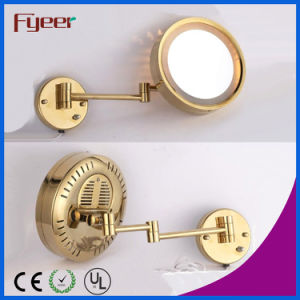Fyeer Single Side Gold Plated Wall LED Makeup Mirror pictures & photos