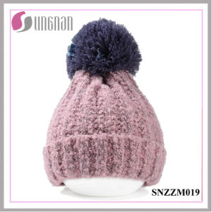 2015 Winter Thickening Wool Ball Simple Knitted Cap Unisex Warm Hat pictures & photos