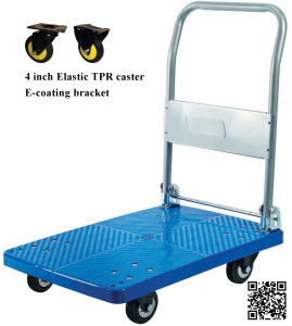 150kg Blue Platform Hand Truck with TPR Caster Foldable Noiseless Trolley pictures & photos