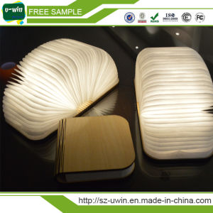 Foldable Design Wooden Book Shaped LED Night Light for Room Decoration pictures & photos