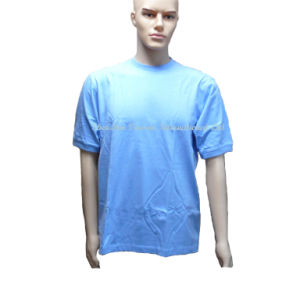 Blue T-Shirt with Rib Collar&Sleeve pictures & photos