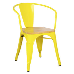 Simple Design Waterproof Metal Restaurant Dining Chair with Armrest and Wood Seat Cushion pictures & photos